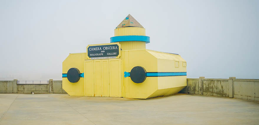 A view of the unique exterior of Camera Obscura attraction in San Francisco