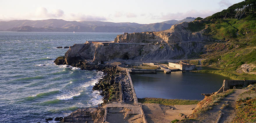 An aerial view of the historical Sutro Baths on the coast of San Francisco