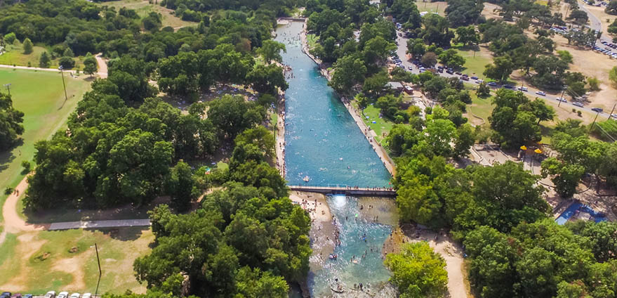 Aerial view Barton Creek and Barton Springs Pool