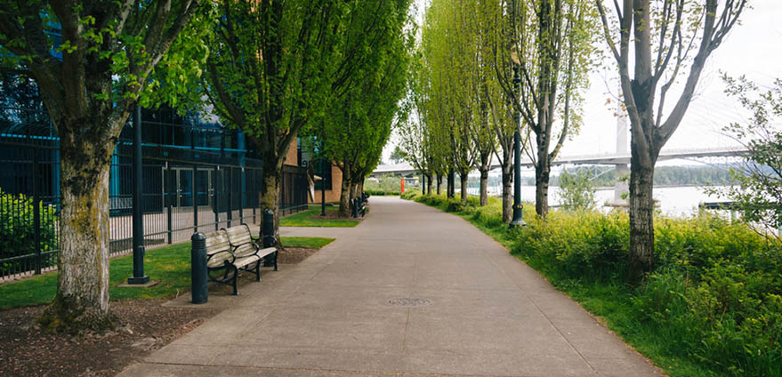 The Eastbank Esplanade bike path in Portland, Oregon