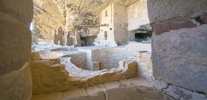 Interior of Balcony House, a historic ancient Pueblo cliff dwelling at Mesa Verde National Park in Colorado