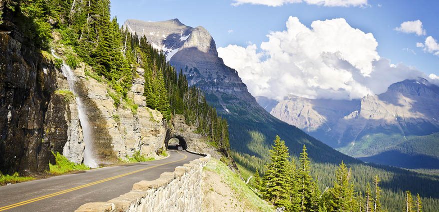A view from Going to the Sun Road at Glacier National Park on sunny day