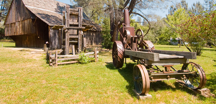 Old equipment on display at Shasta State Historic Park in Redding, California