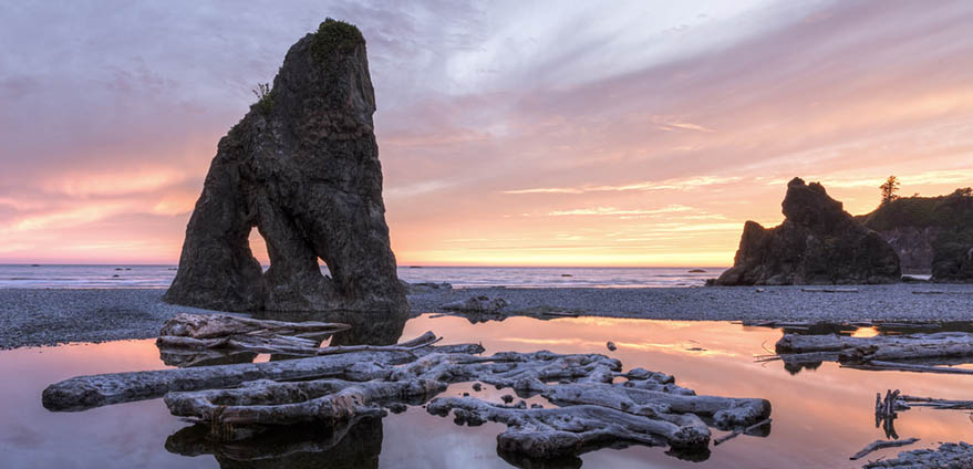 Sunset reflected in stream at Ruby Beach in Olympic National Park, Washington