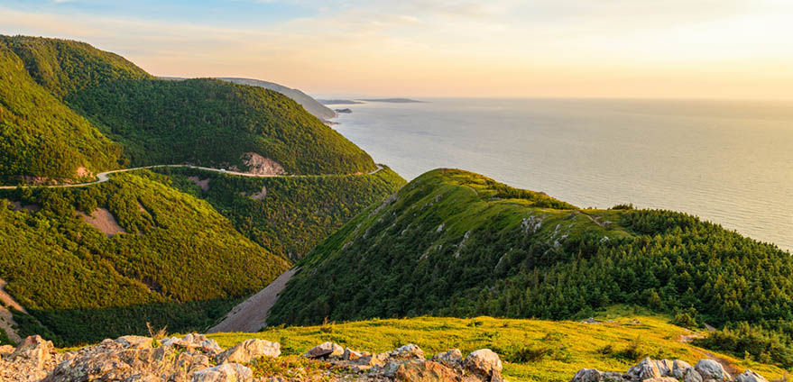 Skyline Trail look-off at sunset, French Mountain, Cape Breton, Nova Scotia, Canada