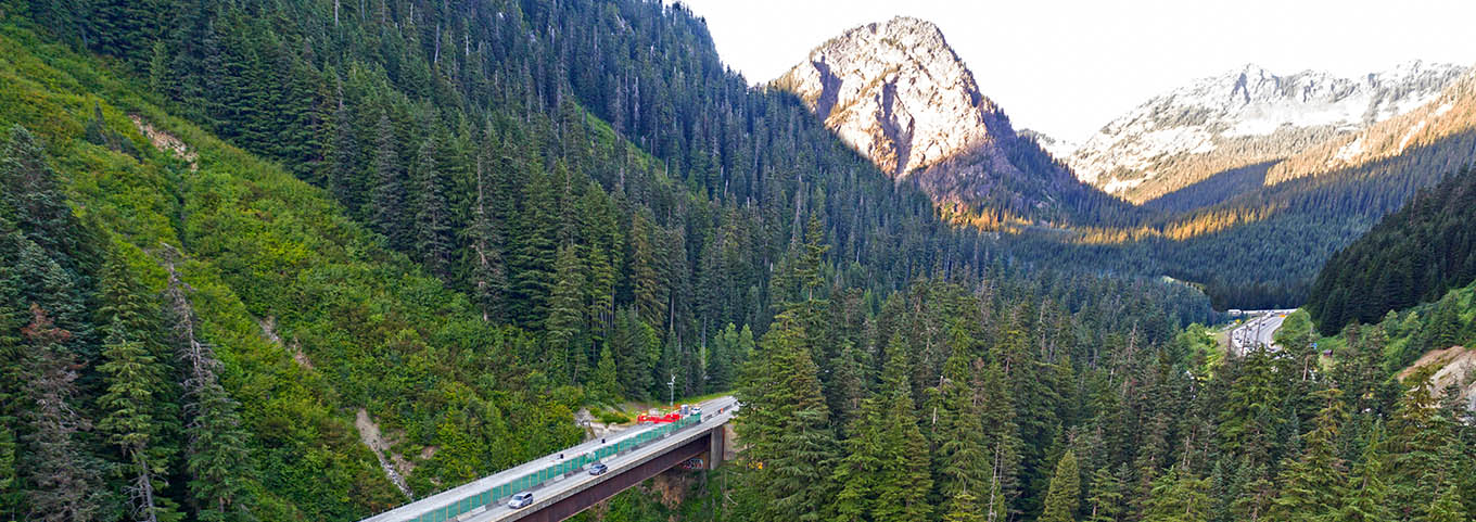 Highway running through the mountain forests of the Pacific Northwest