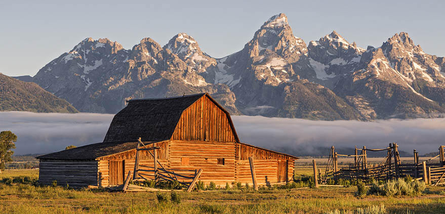 Moulton Barn is hit by the morning sun in Grand Teton National Park, Wyoming.