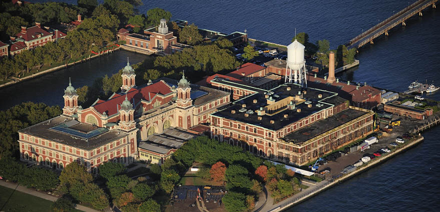 An aerial view of Ellis Island New York, as seen on a bright morning.