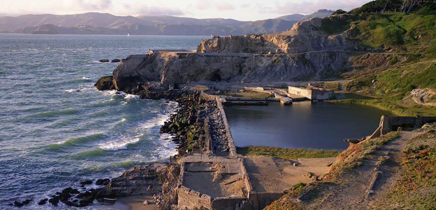 The Sutro Baths are hit by the evening sun in San Francisco.