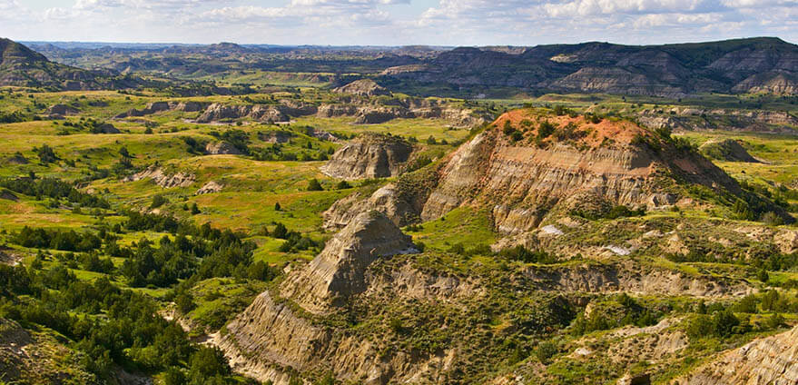 View of the Badlands of Theodore Roosevelt National Park landscape on a clear day