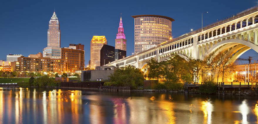 The Cleveland downtown skyline sparkles at twilight.