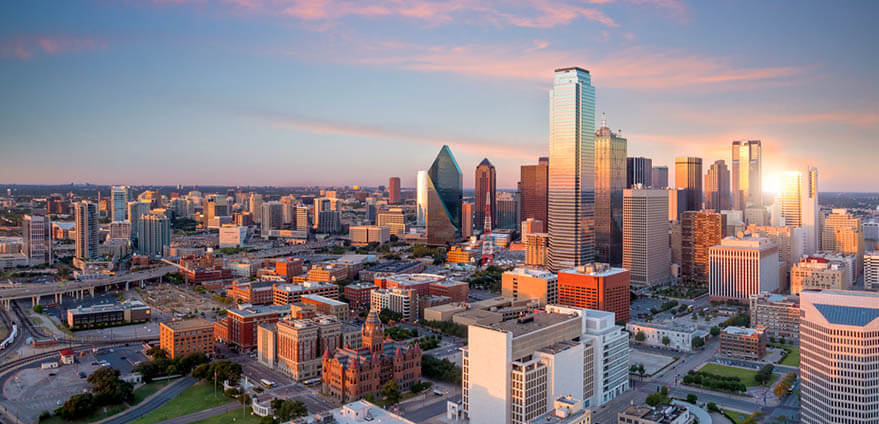 A panoramic view of downtown Dallas, Texas in the early morning