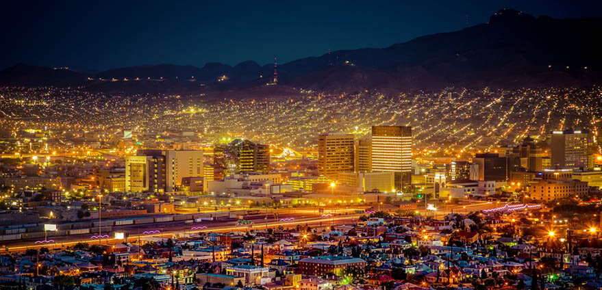Thousands of city lights illuminate the cityscape of El Paso, Texas at night