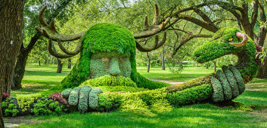 View of a sculputer made from lush green plants at Montreal Botanical Garden, surrounded by green grass and trees