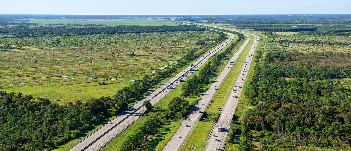 Daytime aerial view of Florida's Turnpike and I-95 in North Palm Beach County