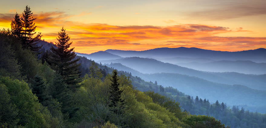 Great Smoky Mountains National Park Scenic Sunrise Landscape in TN