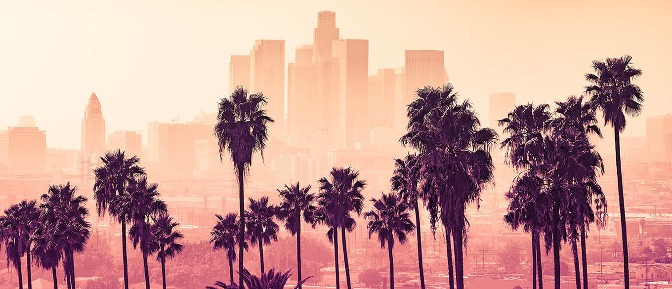 Hazy pink and orange sunrise sky over the Downtown Los Angeles skyline with palm trees lining the foreground